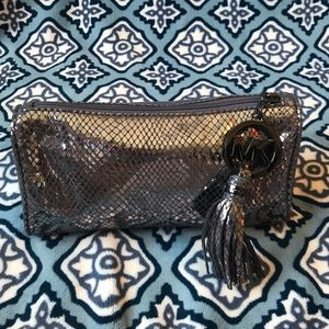 Michael Kors Silver Metallic Cosmetic Bag Case